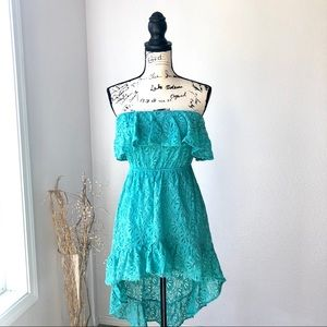 Windsor Crochet High Low Strapless Teal Dress M